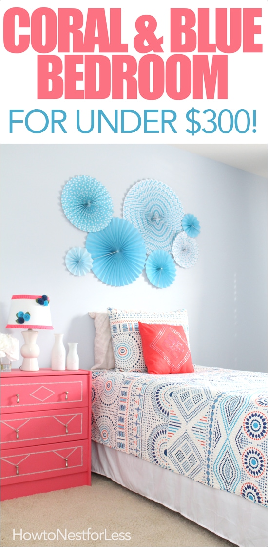 coral and blue kids bedroom