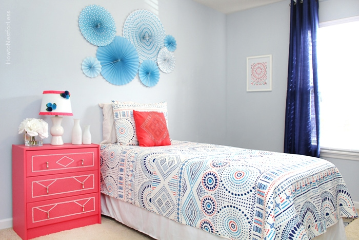 coral blue girl bedroom