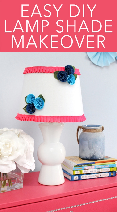 easy DIY flower lamp shade makeover