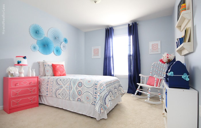 Blue and coral kids bedroom how to nest for less for Pink and blue bedroom
