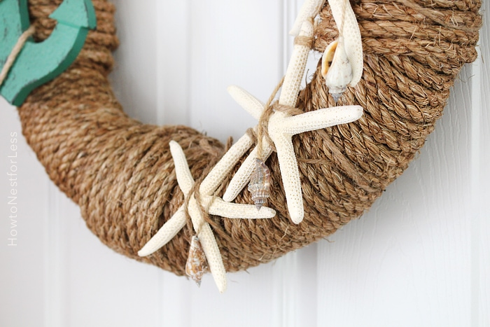 rope seashell wreath tutorial