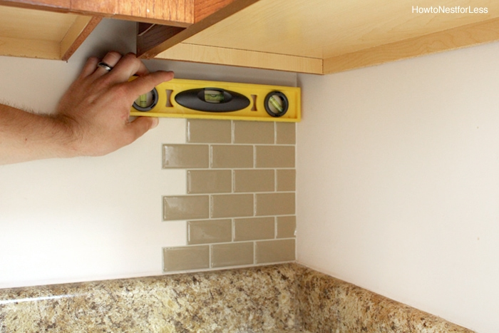 Kitchen mini makeover how to nest for lesstm for Tiling a backsplash inside corner
