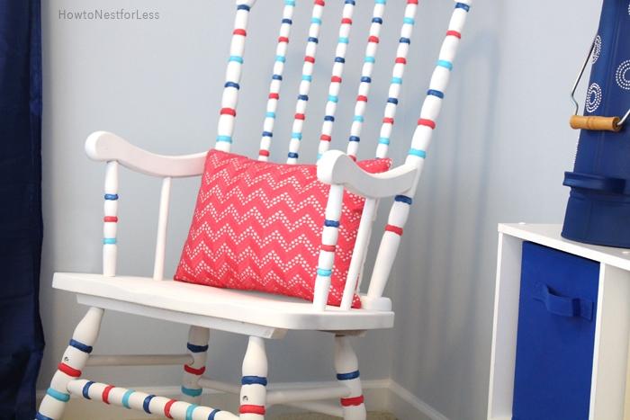 striped rocking chair DIY