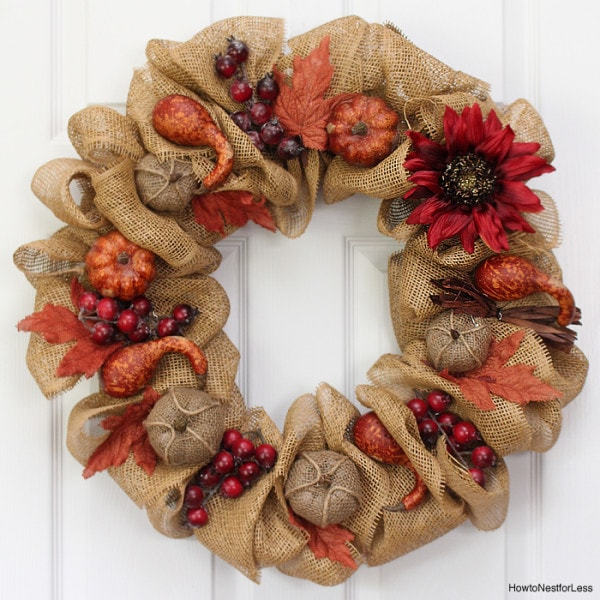 Fall Burlap amp Pumpkin Wreath How To Nest For Less
