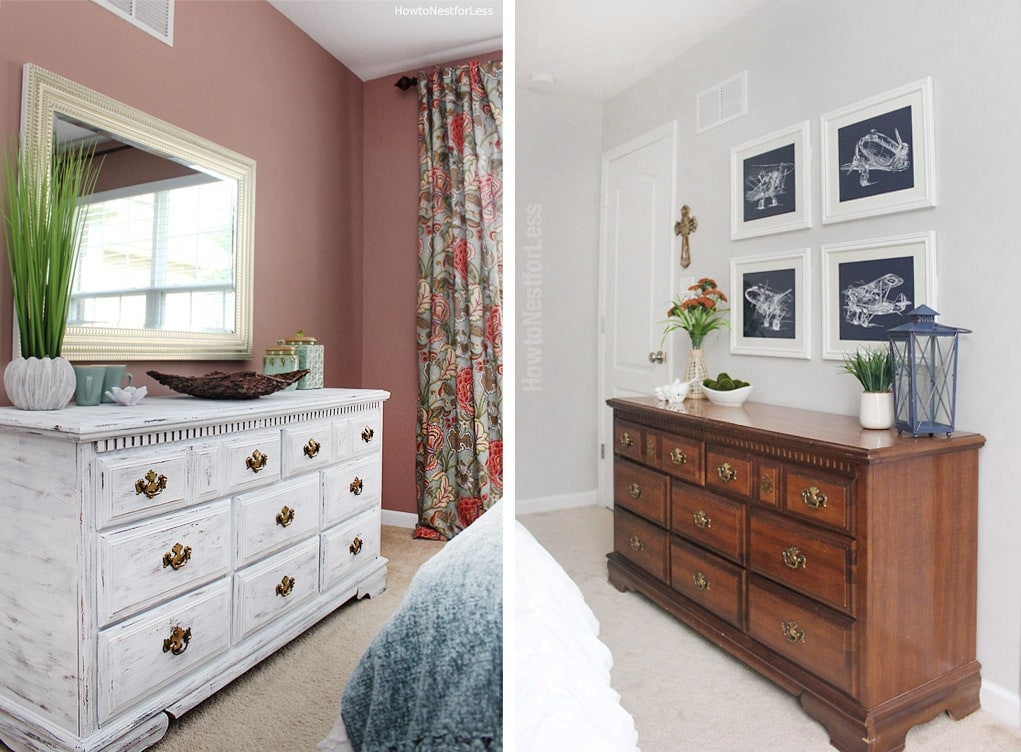 before and after painted white dresser