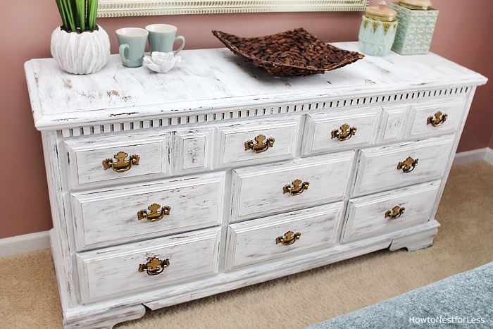 distressed white chalk paint dresser