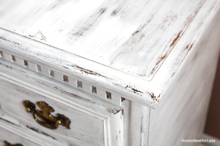 distressed white dresser guest bedroom