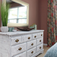 Distressed White Dresser Makeover