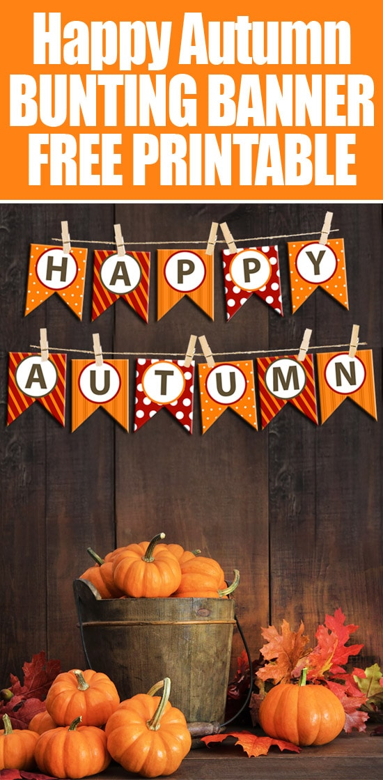 Happy Autumn bunting banner free printable