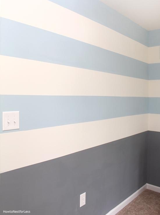 blue and gray nursery wall