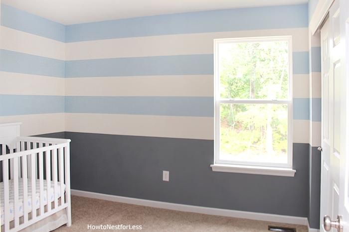 Blue And Gray Striped Nursery