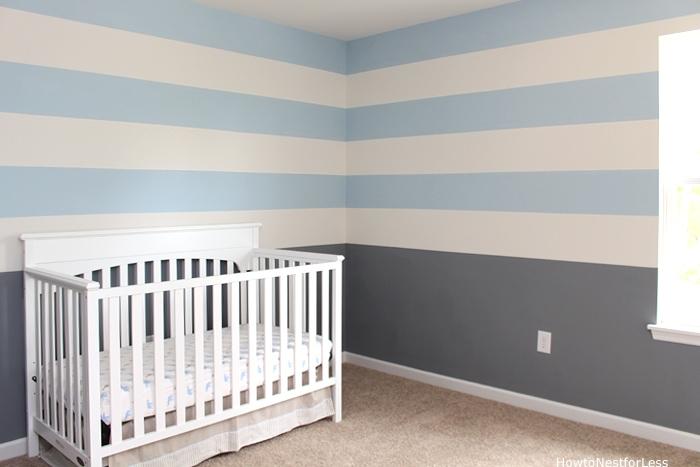 nursery painted stripe wall