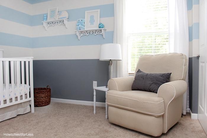 baby blue gray striped nursery