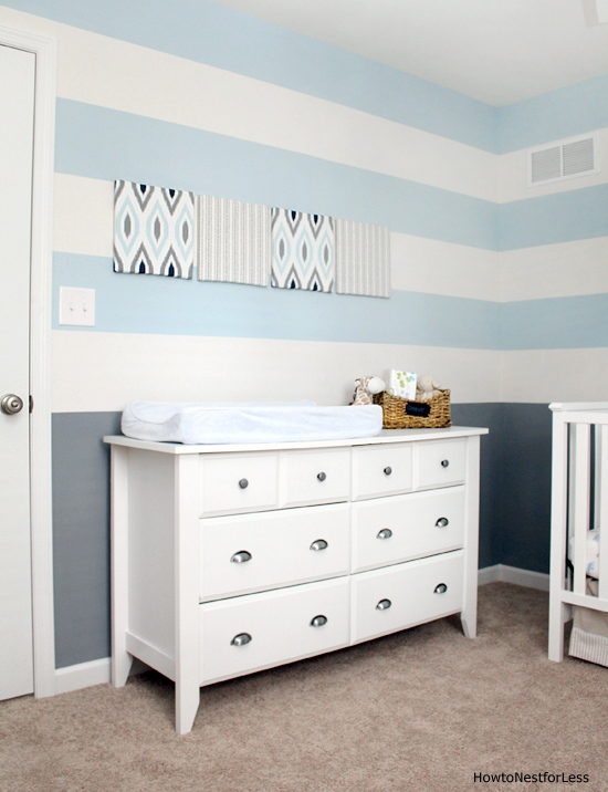 striped blue baby nursery