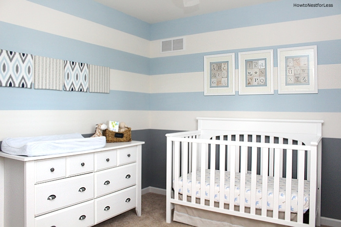 Striped Blue Gray Boy Nursery