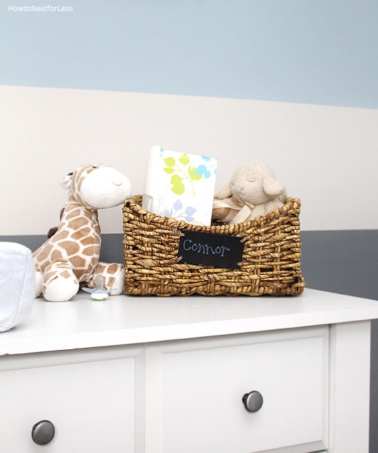 striped blue gray nursery