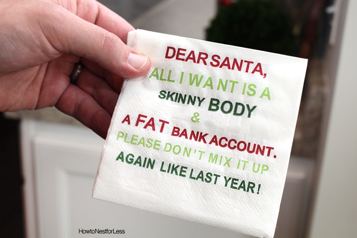 christmas napkins at home
