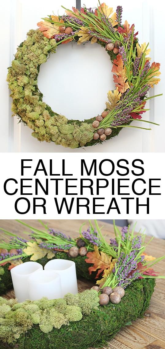 Fall moss wreath centerpiece poster.