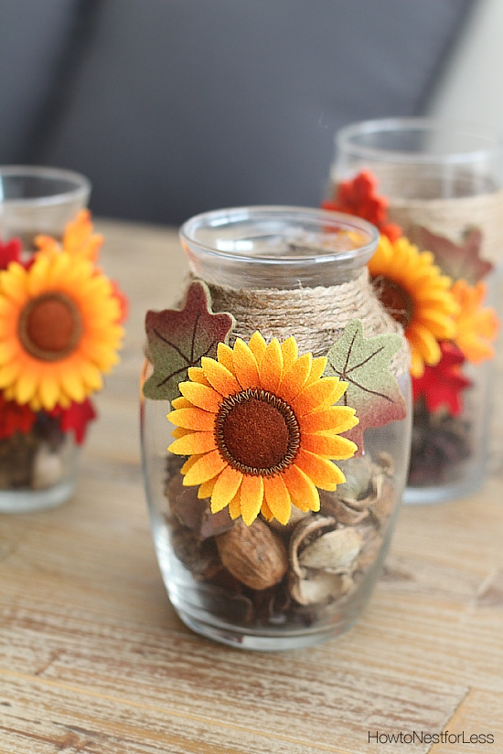 fall sunflower candle holder