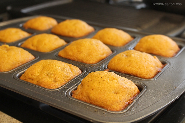 The pumpkin walnut mini cakes in a square individual baking pan.