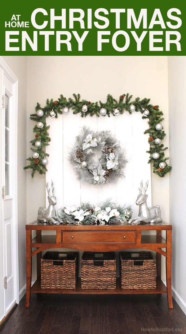 Christmas foyer console decorations