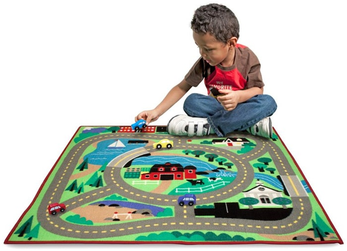 Melissa & Doug Round the Town Road Rug and Car Play Set