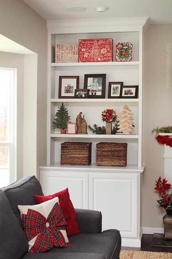 christmas family room bookshelves