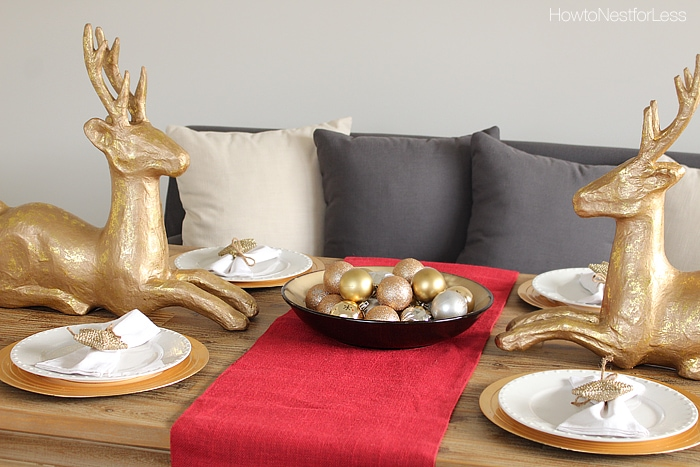 gold and red christmas dining room