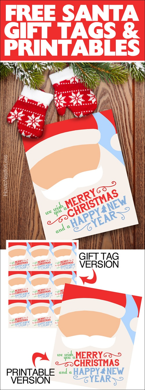 Christmas santa gift tags and printable poster.