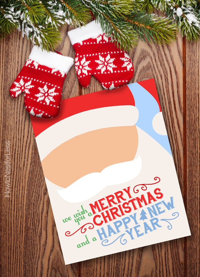 Christmas santa printable with mittens beside it.