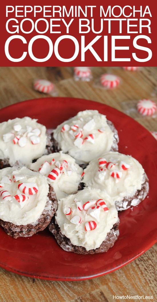 Peppermint Mocha Gooey Butter Cookies