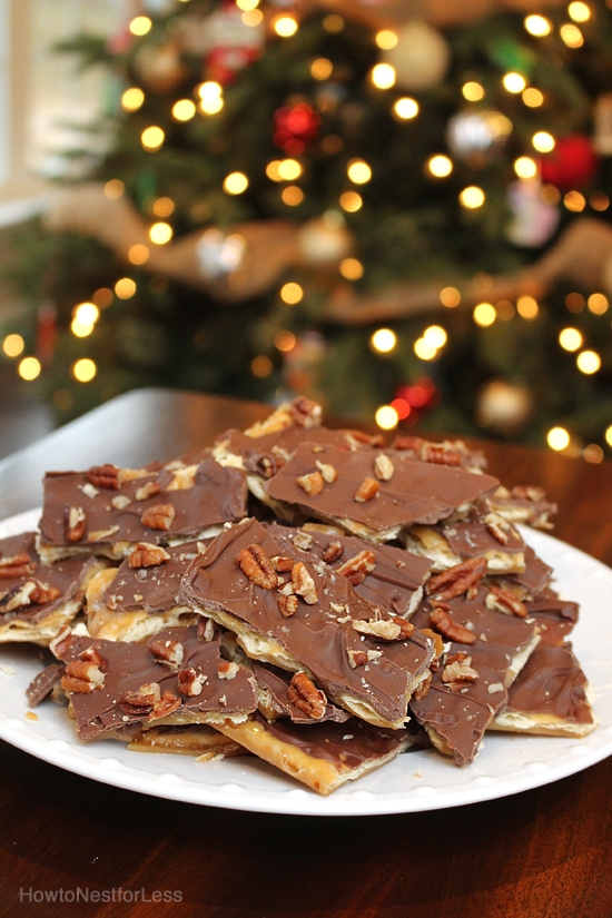 Plate of chocolate saltine toffee on the counter.