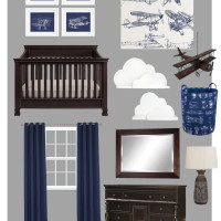 Airplane Themed Boy Bedroom Mood Board