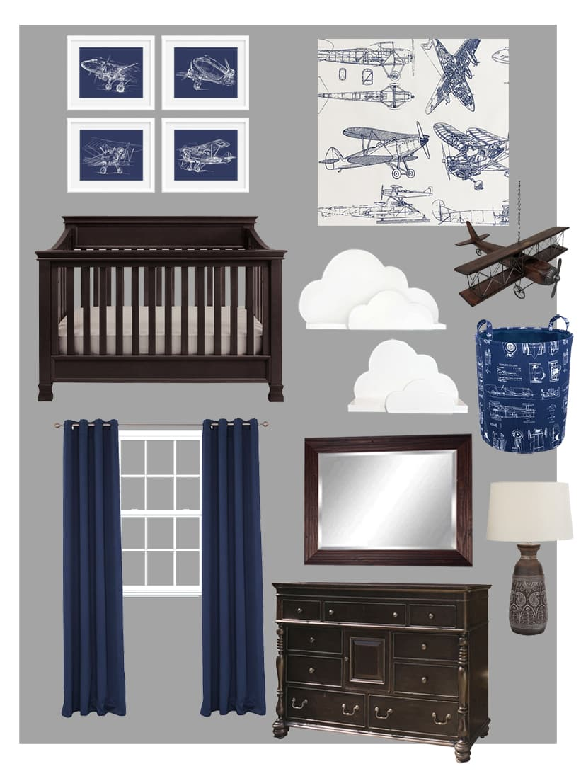 Airplane Themed Boy Bedroom Mood Board