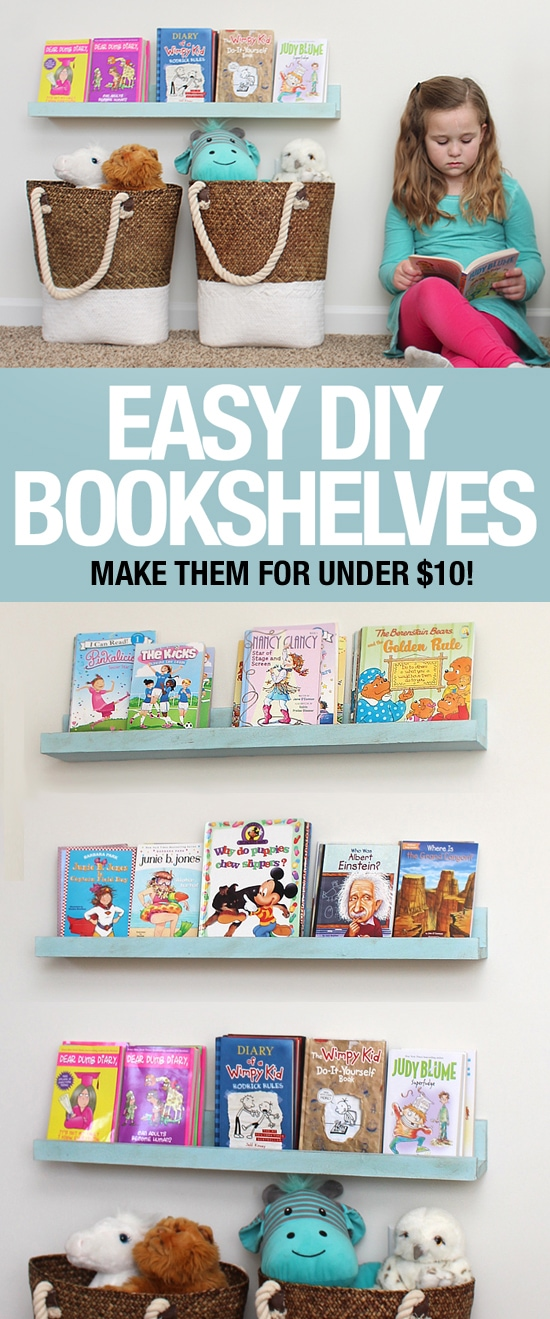 Easy DIY Bookshelf Ledges