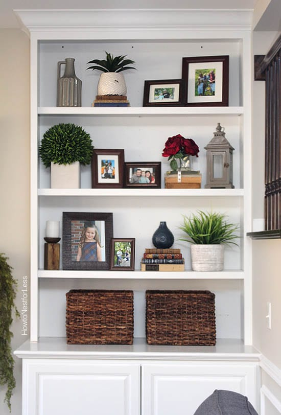 Styled family room bookshelves how to nest for less - Shelves design for living room ...