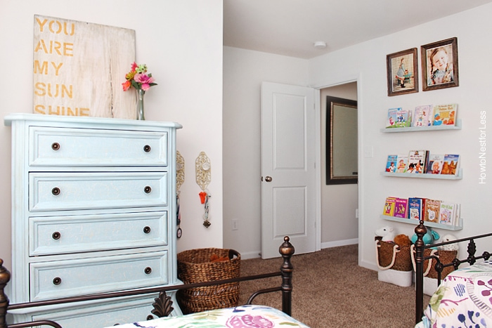 Kids Bedroom Makeover girl cottage bedroom with shiplap walls and painted furniture