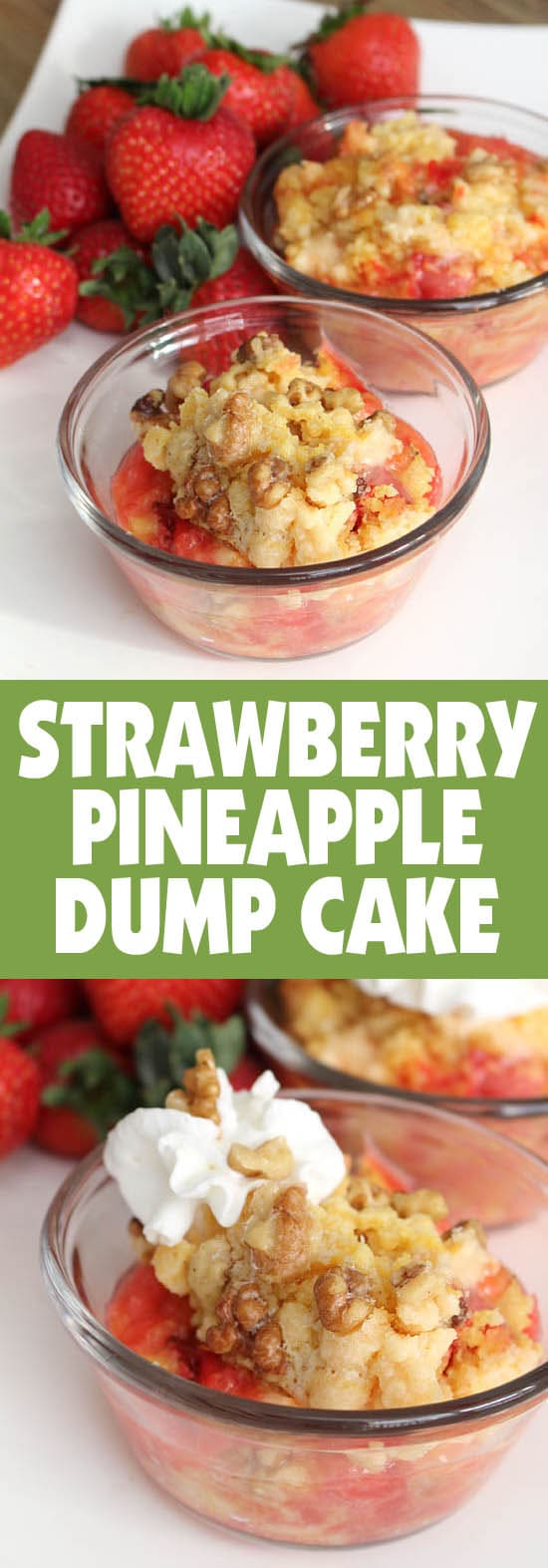 Strawberry pineapple dump cake in bowls on counter.