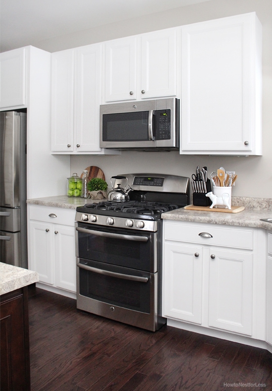 Elegant White Kitchen Cabinets Dark Flooring