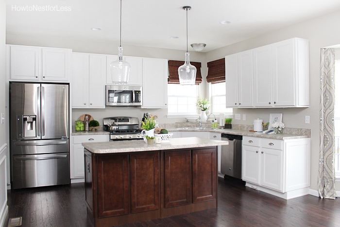 Kitchen updates and bar stool ideas how to nest for less - White kitchen with dark island ...