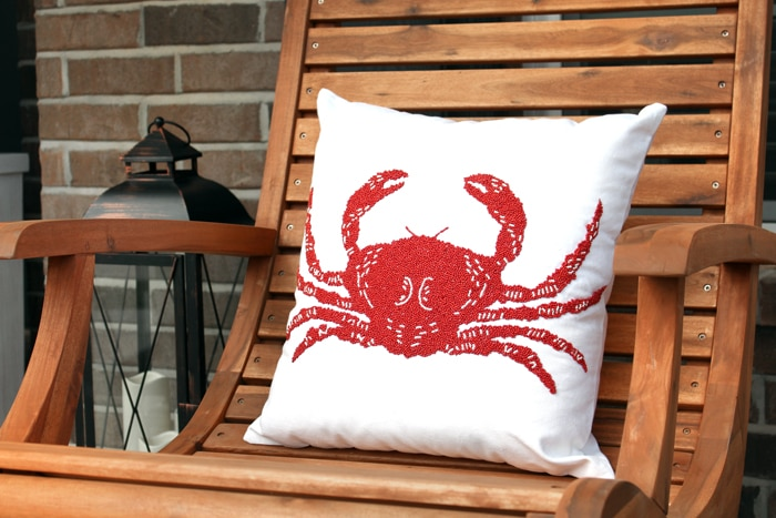 front porch makeover nautical pillow