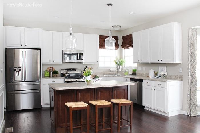 kitchen white cabinets dark island