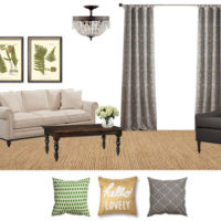Charcoal and Green Living Room