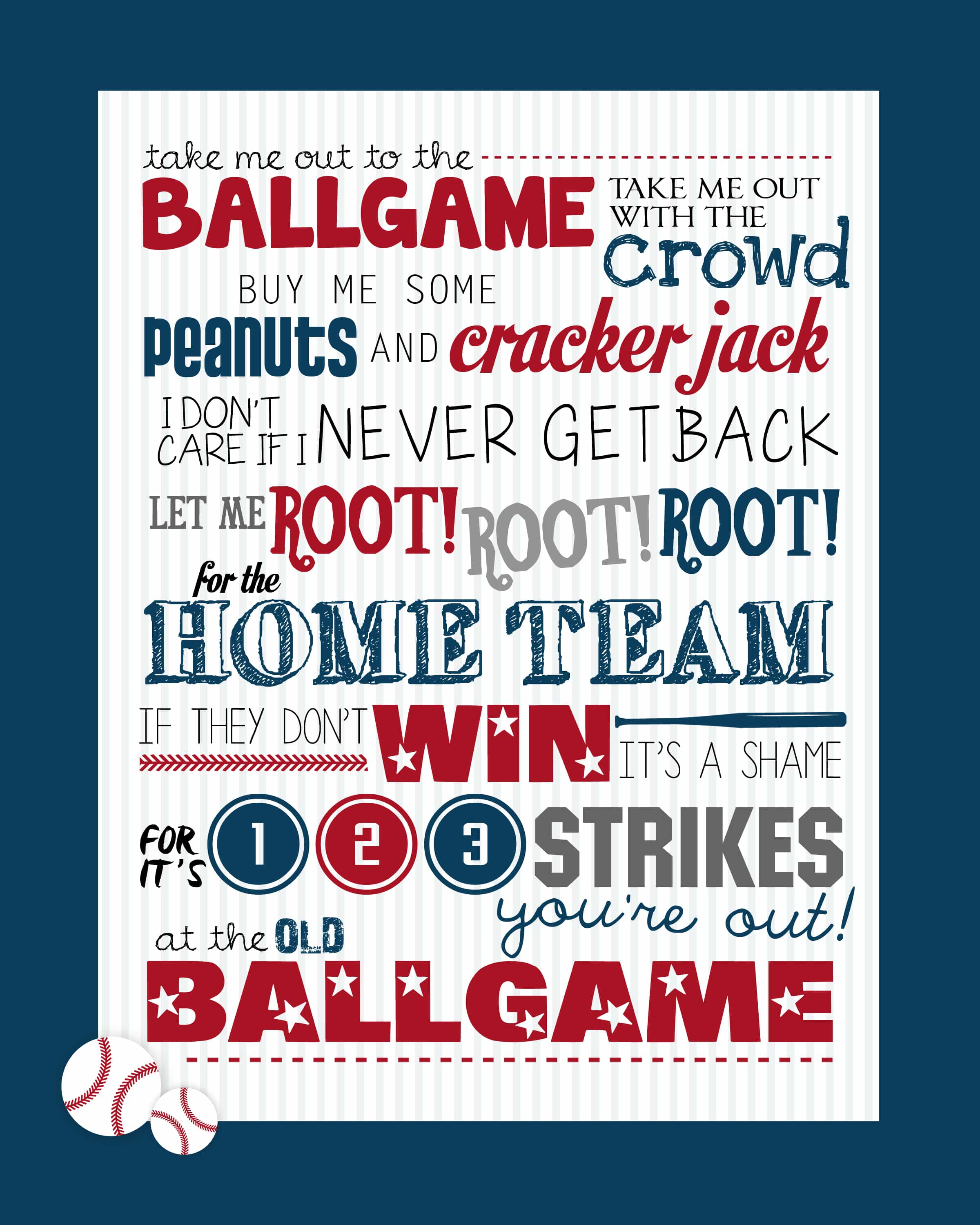 Take Me Out to the Ballgame Baseball Printable