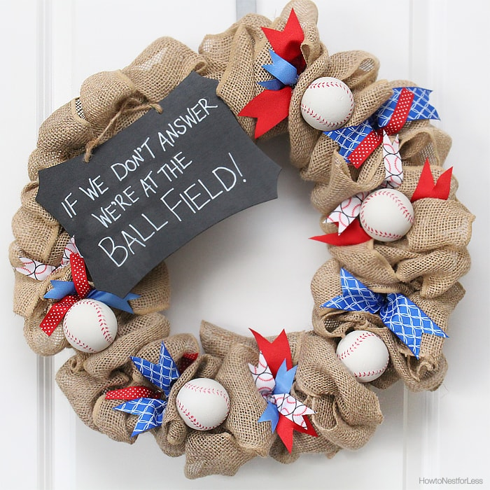 baseball front door wreath