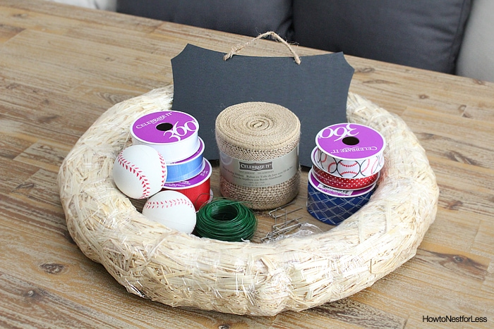 baseball wreath supplies