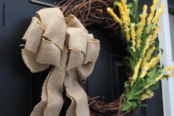 burlap and yellow flower wreath