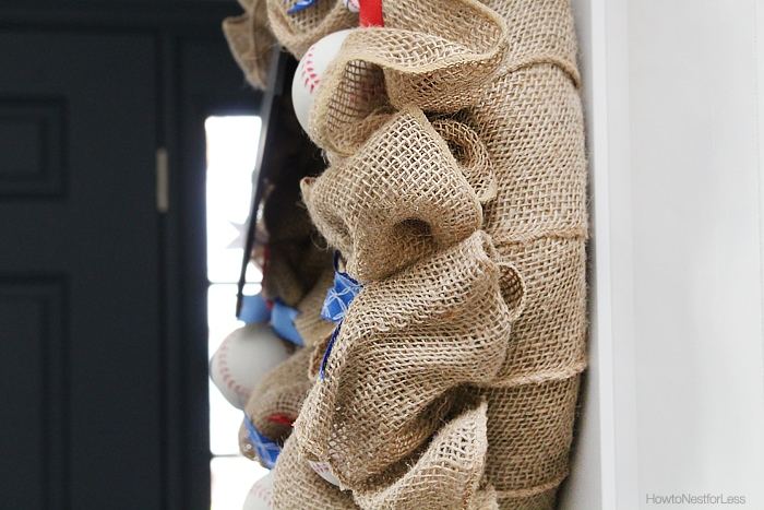 burlap baseball wreath