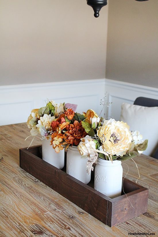 Mason Jar Table Trough Centerpiece
