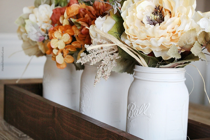 Mason Jar Planter Box Centerpiece